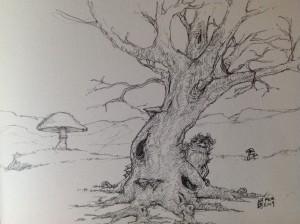 """Skizze """"Baum und Schrat"""""""